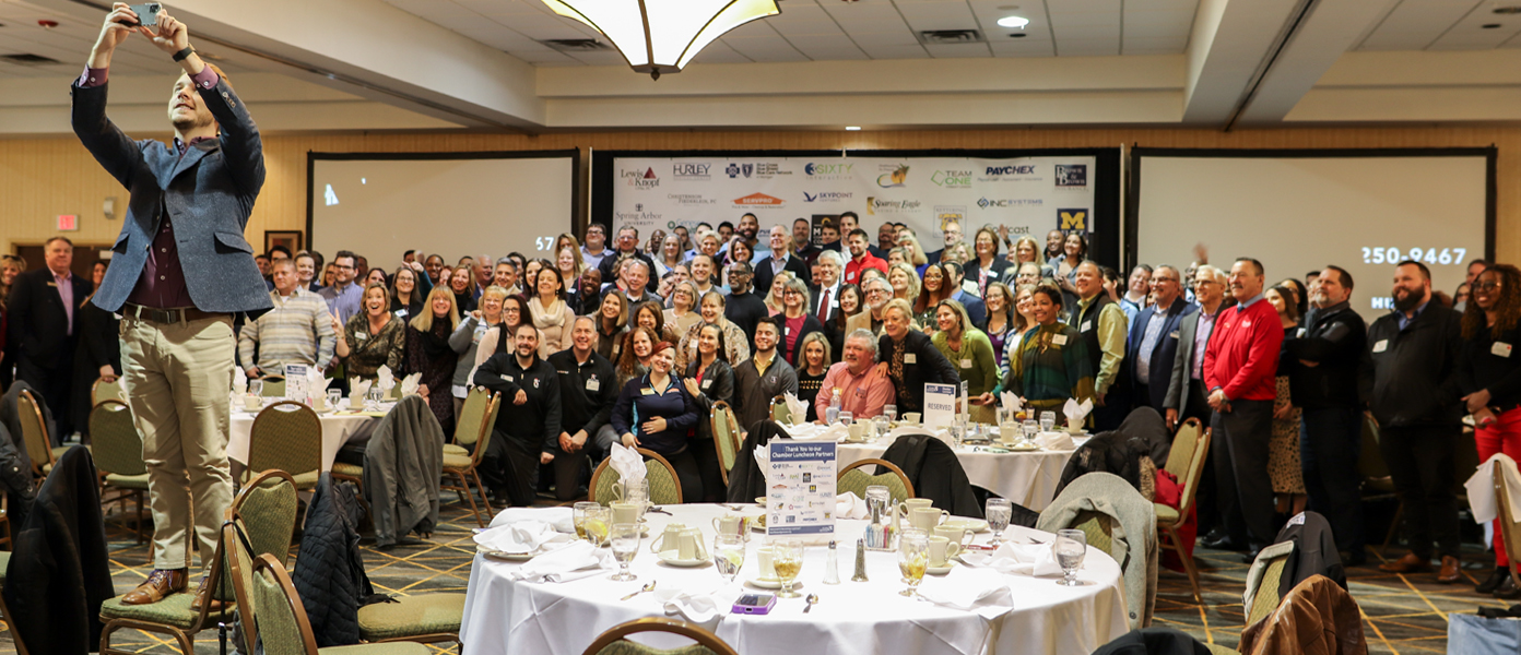 Group photo of January Chamber Luncheon attendees